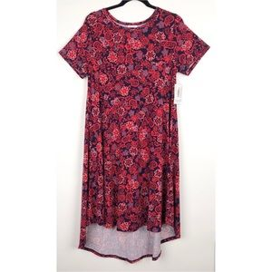 LulaRoe Carly Navy Orange Coral Flower Hi Lo Dress